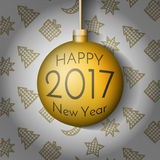 Happy New Year 2017 Christmas ball. Vector illustration. Happy New Year 2017 Christmas ball on background with New Year elements. Xmas Ball Template for your Royalty Free Stock Images