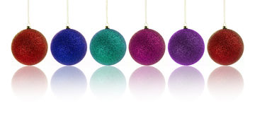 Happy new year with christmas balls. Colorful set of christmas bubbles over white background stock photos