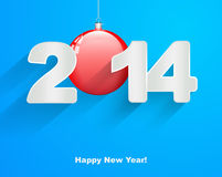 Happy New Year 2014. With Christmas balls stock illustration