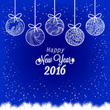 Happy New Year 2016 with christmas balls.  stock illustration