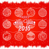 Happy New Year 2016 with christmas balls.  Royalty Free Stock Photography