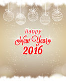 Happy New Year 2016 with christmas balls.  Stock Photography