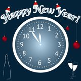 Happy new year. Christmas balls and Champagne. A clock shows at five minutes to tvelve. Vector. Happy new year greeting card. Christmas balls and Champagne. A Stock Photography