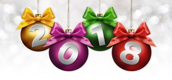 Happy new year christmas balls with colored ribbon bow and 2018 Stock Photos