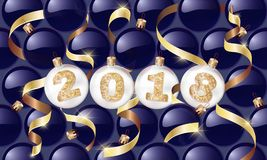 Happy New Year. 2018. Christmas balls with a golden text and golden serpentine. Christmas design, winter holidays.Vector illustrat. Ions. for banners, posters royalty free illustration