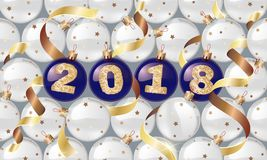 Happy New Year. 2018. Christmas balls with a golden text and golden serpentine. Christmas design, winter holidays.Vector illustrat. Ions. for banners, posters stock illustration