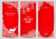 Happy New Year 2016 with christmas balls and. Handmade drawing. Invitation card stock illustration