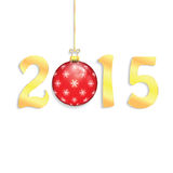 Happy 2015 new year. With Christmas bauble royalty free illustration