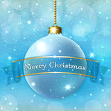 Happy New Year Christmas bauble. Merry Christmas decoration background with 3d ball. Stars, glitter, bauble and blue ribbon, white winter snowflakes. Xmas card Royalty Free Stock Photo