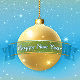 Happy New Year Christmas bauble. Merry Christmas decoration background with 3d gold ball. Stars, glitter, golden bauble, blue ribbon, white winter snowflakes Royalty Free Stock Photography