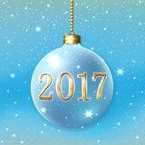 Happy New Year Christmas bauble. Merry Christmas 2017 decoration on blue background. 3d ball. Stars, glitter, number and bauble, white snowflakes. Bright Xmas Stock Image
