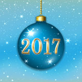 Happy New Year Christmas bauble. Merry Christmas 2017 decoration on blue background. 3d ball. Stars, glitter, number and bauble, white snowflakes. Bright xmas Stock Images