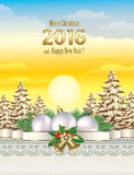 Happy New Year 2016. Christmas card on a background of natural landscape Vector Illustration