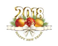 Happy New Year 2018. Christmas card with balls and bow on a white background Royalty Free Stock Images
