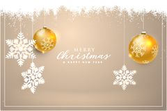 Happy new year and christmas. Christmas card with balls and snowflakes. Vector illustration. Happy new year and christmas. Christmas card with balls and Royalty Free Stock Photo