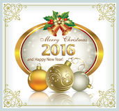 Happy New Year 2016. Christmas card with Christmas balls and bells Stock Photo