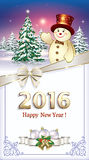 Happy New Year 2016 Christmas card with a Christmas tree and a snowman. With a decorative bow Royalty Free Stock Image