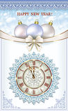 Happy new year. Christmas card with a clock and balls with a decorative bow Royalty Free Stock Photos