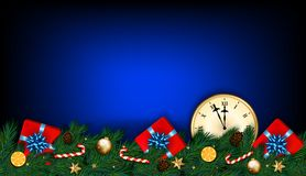 Happy New Year and Christmas card with clock, fir branches, gift. S and candy cane on dark blue background. Vector illustration royalty free illustration