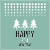 Happy 2014 new year. Christmas card with  fir-trees, many varieties of snowflakes and congratulations Stock Photography