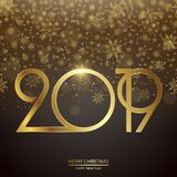 Happy New Year and Christmas card. Vector. Happy New Year and Christmas card with golden text and clock. Vector royalty free illustration