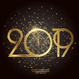 Happy New Year and Christmas card. Vector. Happy New Year and Christmas card with golden text and clock. Vector stock illustration