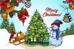 2018 happy new year and christmas card. Outside view on snowman near fir tree on snow, sledges with gifts and branches with stars and decorations. 2018 new year Stock Photo