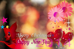 Happy New Year 2014. Christmas and New Year Card with Red Heart and pink flower on lighting spot background.This Card blank area for fill Wish Well Wording and stock illustration