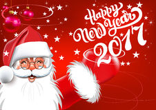 Happy New Year 2017 Christmas Card. Happy Santa Claus Text on Red background Royalty Free Stock Photo