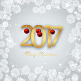Happy New Year 2017. Christmas Card. Christmas silver background with snowflakes,Christmas balls 2017 Stock Image
