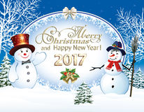 Happy New Year 2017. Christmas card with a snowman on the background of the poster vector illustration