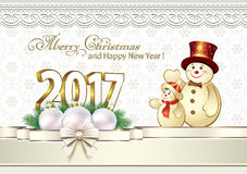 Happy New Year 2017. Christmas card with a snowman on the background of snowflakes royalty free illustration