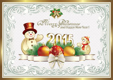 Happy New Year 2015. Christmas card with a snowman in the decorative frame vector illustration