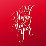 Happy New Year 2017. Christmas Card, Text on Red background. New Years Eve. Vector image Stock Photos