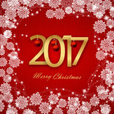Happy New Year 2017. Christmas Card, White Text on Red background. Vector image. Happy New Year 2017 Christmas Card White Text on Red background Royalty Free Stock Photo