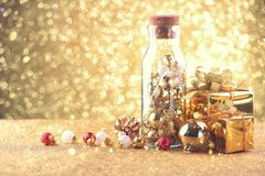 Happy new year and Christmas Celebration balls and other decoration royalty free stock photography