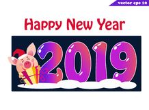 2019 banner with pig and present on dark royalty free illustration