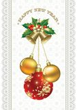 Happy New Year. Christmas decorations with balls and bells Stock Image