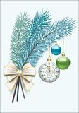 Happy New Year. Christmas decorations. Spruce branches with a clock, balls and bow stock illustration