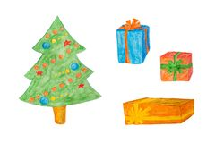 Happy New year or Christmas decorations - tree and gifts box, watercolor painting royalty free stock photography