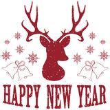 Happy New Year with Christmas Deer Stock Images