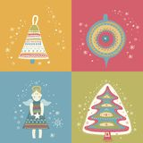 Happy New Year Christmas eve set Royalty Free Stock Photos