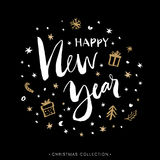 Happy New Year. Christmas greeting card with calligraphy. Royalty Free Stock Photography