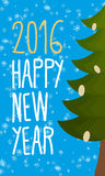 Happy new year 2016. Christmas greeting card. Christmas tree. Royalty Free Stock Photos