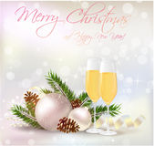 Happy New Year and Christmas greeting card Stock Photography