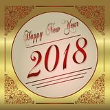 2018 Happy New Year red and gold greeting card Stock Images