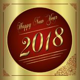 2018 Happy New Year red and gold greeting card Stock Photos