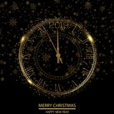 Happy New Year or Christmas greeting card with gold clock. Vector.  vector illustration