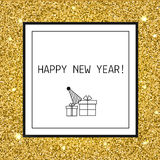 Happy New year, Christmas greeting card with gold glitters, line icons, celebrating symbols. Happy New year, Christmas greeting card with with golden glittering Royalty Free Stock Photography