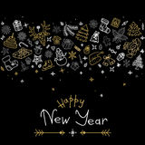 Happy New Year and Christmas greeting card with gold and silver icons. Outline and hand drawn New Year and Christmas elements and symbols. Vector illustration Royalty Free Stock Photos